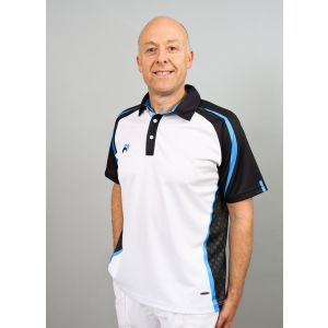 Henselite Signature Mens Bowls Shirt: White/Black/Royal Blue